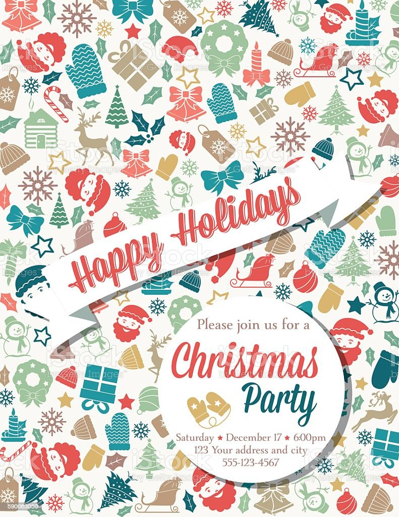 Retro Inspired Christmas Party Invitation Template Stock