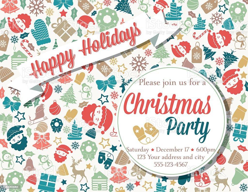 Fiesta De Navidad Retro Plantilla De Invitación De Inspiración ...