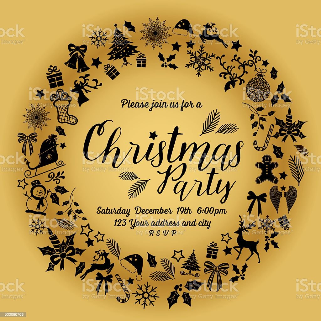 Retro Inspired Christmas Party Invitation Template Wreath stock ...