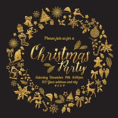 Christmas Party Invitation Template in wreath shape. The text is surrounded by retro holiday icons in elegant gold and black colors.