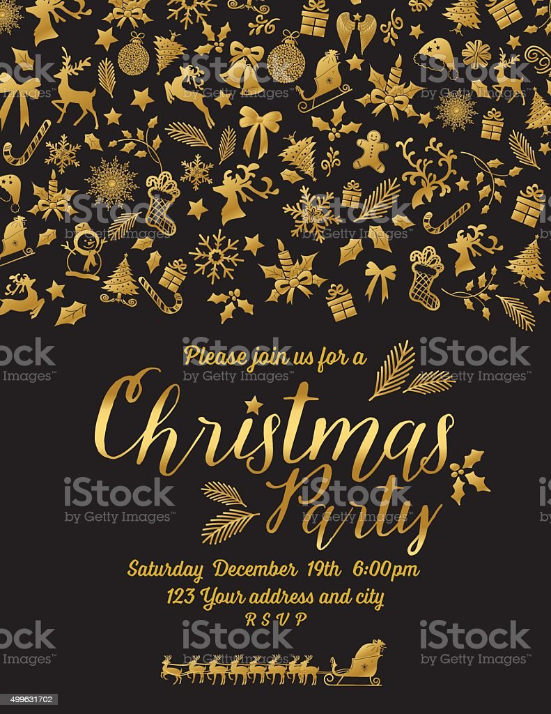 Retro inspired gold black christmas party invitation template stock retro inspired gold black christmas party invitation template royalty free retro inspired gold black christmas stopboris Image collections