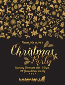 Gold and Black Elegant Christmas Party Invitation Template. The text is surrounded by retro holiday icons in gold. Make a very elegant holiday party invitation or Christmas greeting card.
