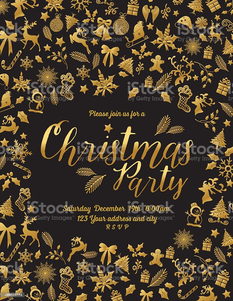 Retro Inspired Gold Black Christmas Party Invitation Template Stock