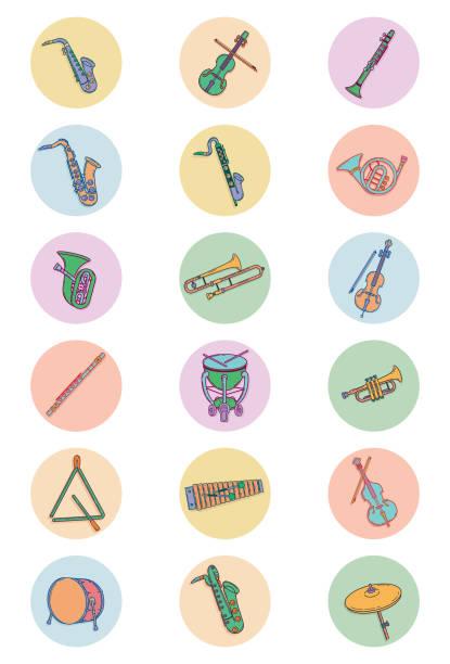 stockillustraties, clipart, cartoons en iconen met illustraties voor retro-instrumenten - basklarinet