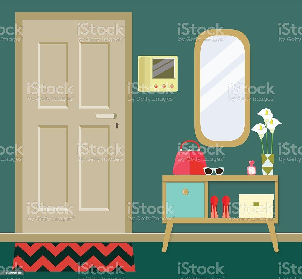 retro interior hallway. vector illustration vector art illustration