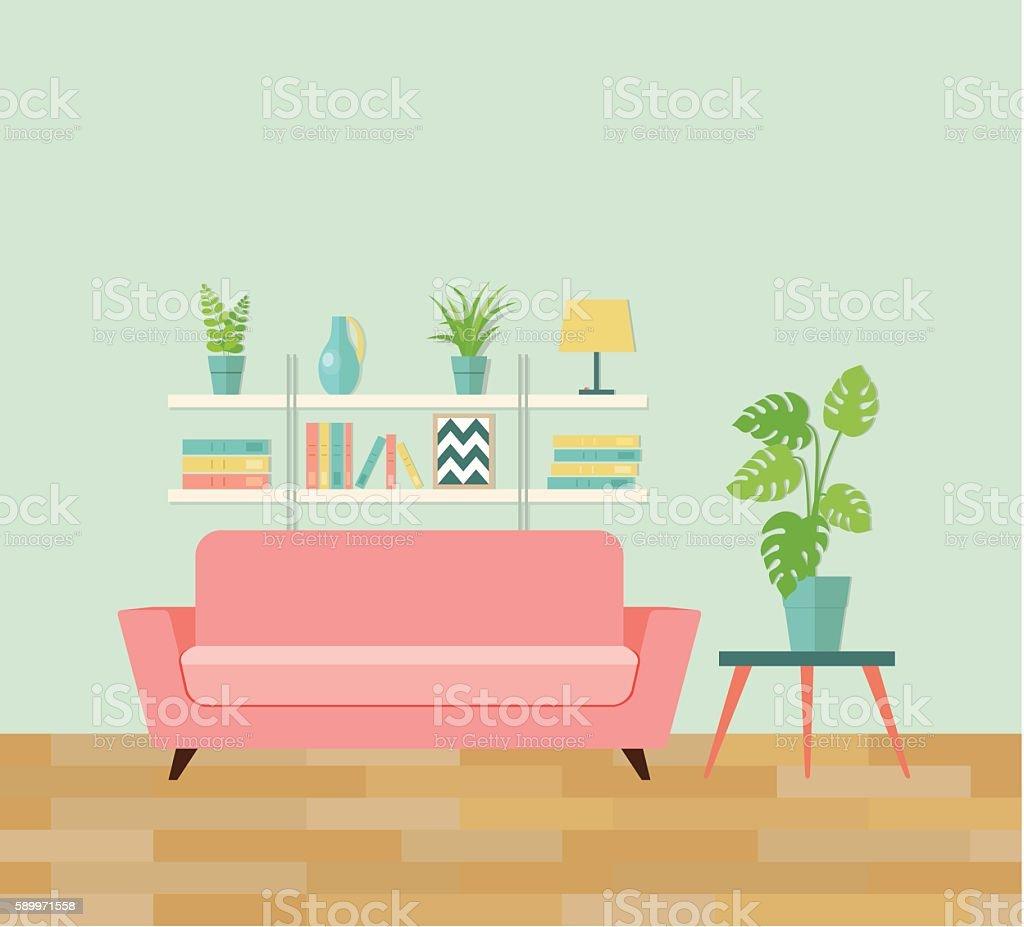 Retro Interior Living Room Vector Flat Illustration Stock Vector Art ...