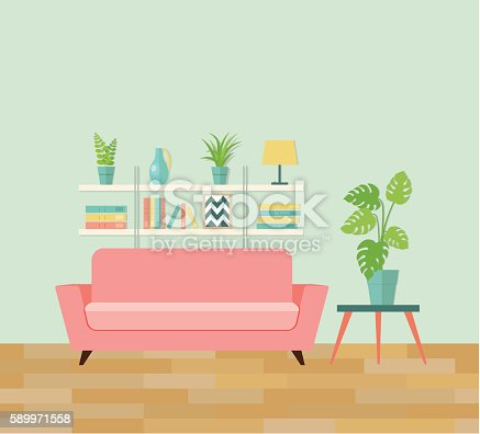 Retro Interior Living Room Vector Flat Illustration Stock Vector Art ...