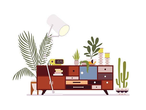 ilustrações de stock, clip art, desenhos animados e ícones de retro interior with a sideboard - sideboard