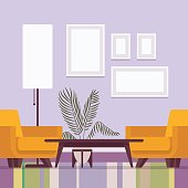 Retro interior original mid-century modern guest room, two armchairs, standing lamp, wall frames for copyspace and mock up. Hotel accommodation or home cozy living space. Interior illustration