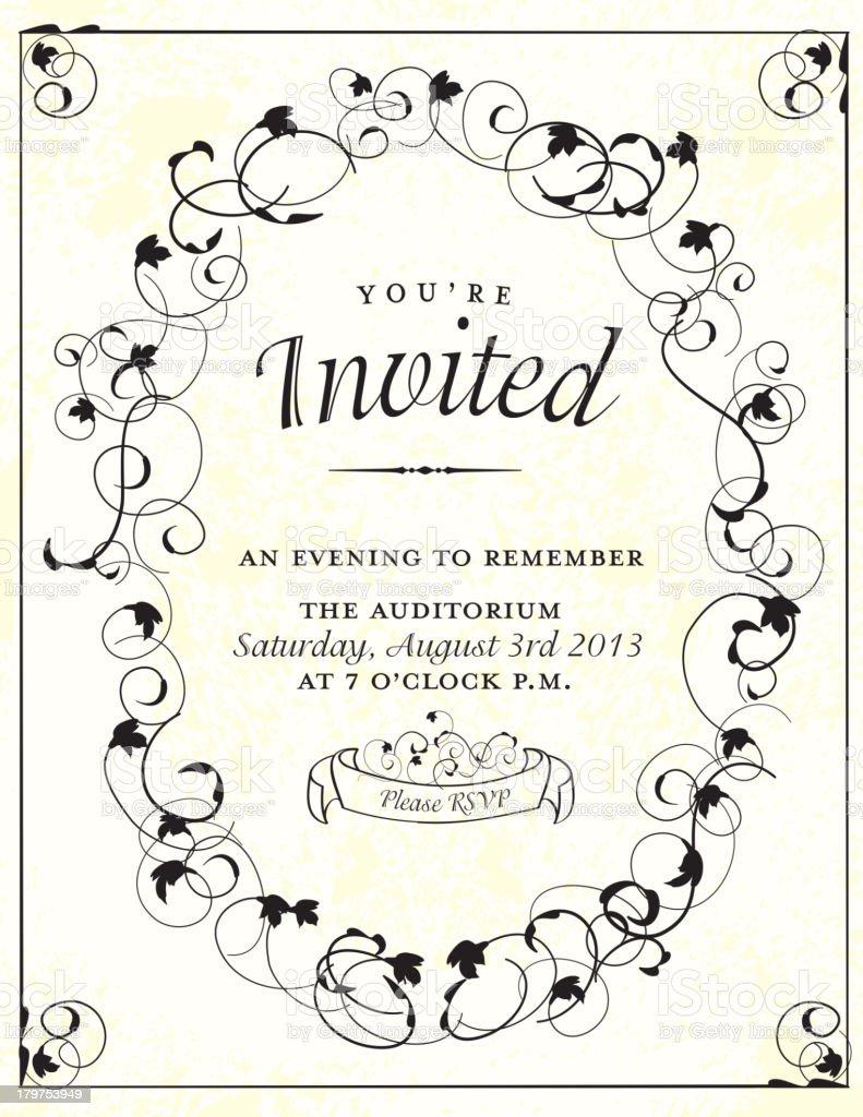 retro invitation design template with oval swirl stock vector art
