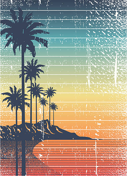 retro island vintage summer composition big island hawaii islands stock illustrations
