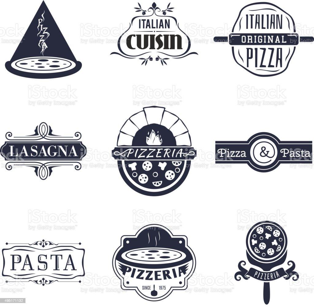 イタリア料理レストラン「レトロなラベル、エンブレムが自慢のロゴベクトルセット ベクターアートイラスト