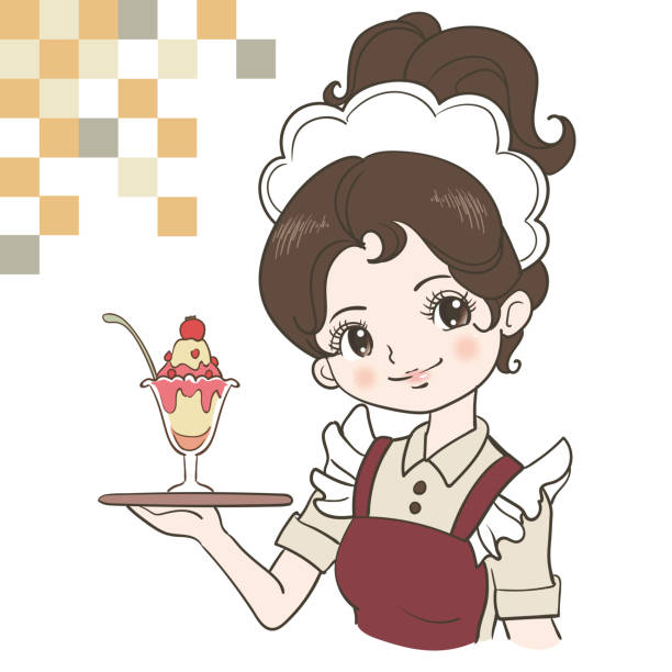 illustrazioni stock, clip art, cartoni animati e icone di tendenza di retro japan waitress image - portrait of waiter and waitress holding a serving