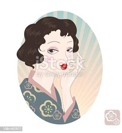 Japanese old female fashion image. My imaginary illustration.