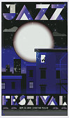 Retro jazz festival concert poster template with city skyline at night, full moon and saxophone player in window
