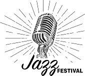 istock Retro Jazz Festival design template with vintage microphone 1162860801