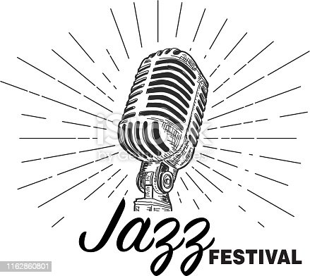 Vector illustration of a Retro Jazz Festival design template with vintage microphone.  Easy to edit with layers. EPS 10,