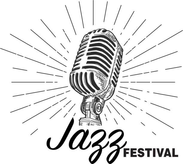Retro Jazz Festival design template with vintage microphone vector art illustration