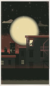 Retro jazz player in lit window with city skyline at night and full moon
