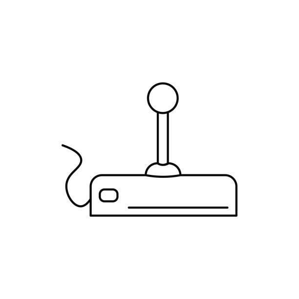 retro joystick icon vector art illustration
