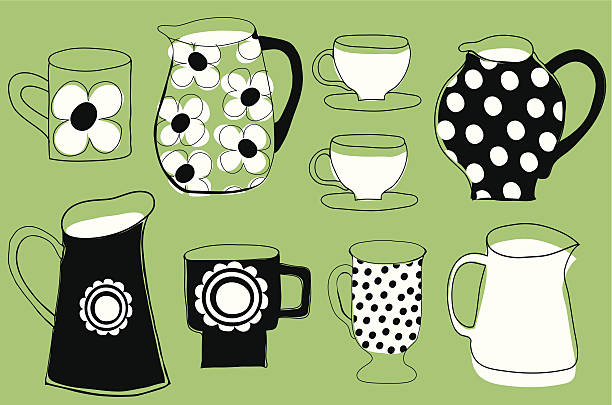 Retro jugs and mugs collection. vector art illustration
