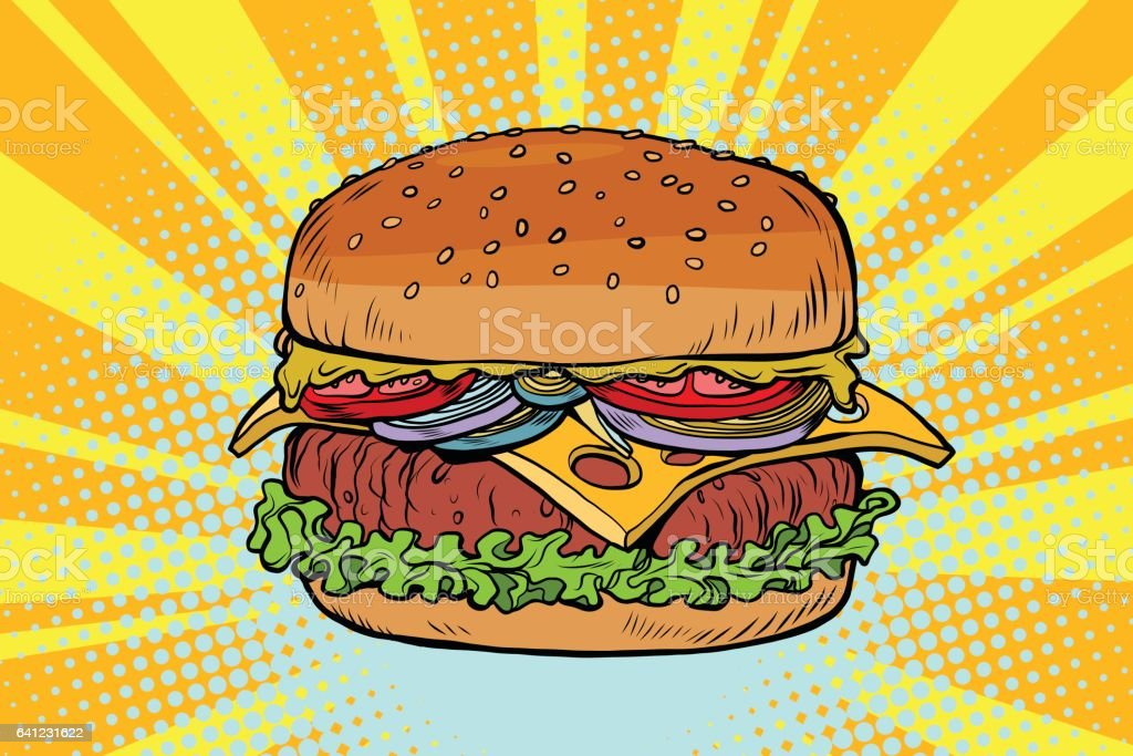 Retro juicy delicious Burger with meat and salad vector art illustration