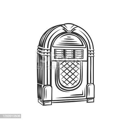 istock Retro jukebox monochrome icon 1253910506