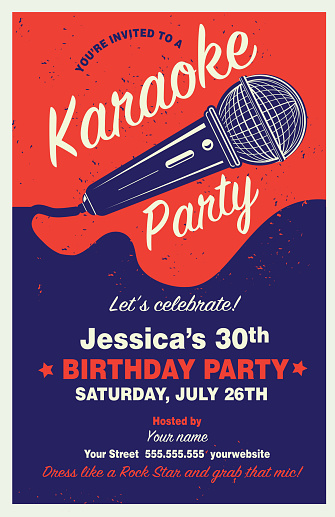 Retro Karaoke Party Poster design template with microphone