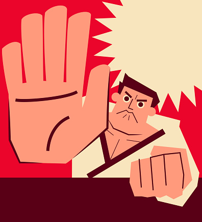 Retro Karate coach punching with big palm of hand (showing stop gesture with five fingers)
