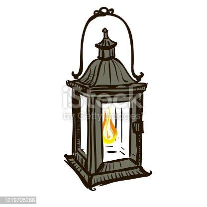 istock Retro kerosene lantern made in the thumbnail style 1219705266