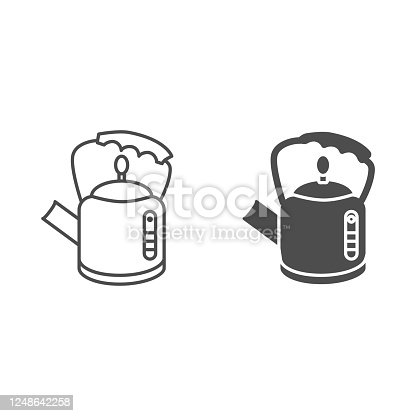 Retro kettle line and solid icon, kitchenware concept, straight shaped teakettle sign on white background, Teapot for cook hot drinks icon in outline style for mobile and web design. Vector graphics