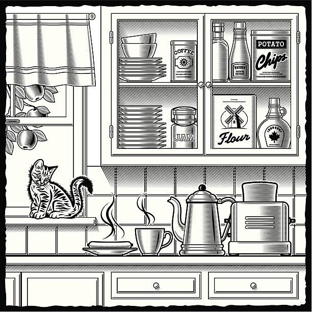 ilustrações de stock, clip art, desenhos animados e ícones de retro de cozinha preto e branco - lata comida gato