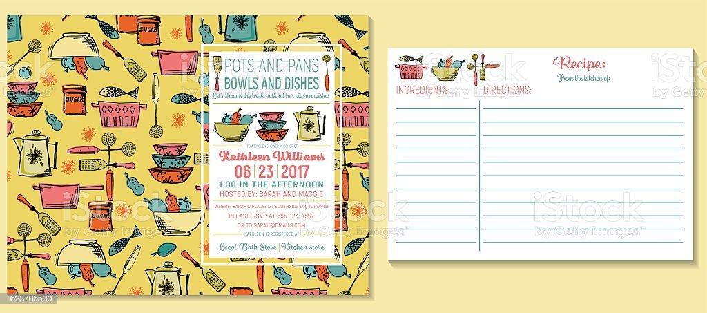 Retro Kitchen Bridal Shower Invitation And Recipe Card Template vector art illustration