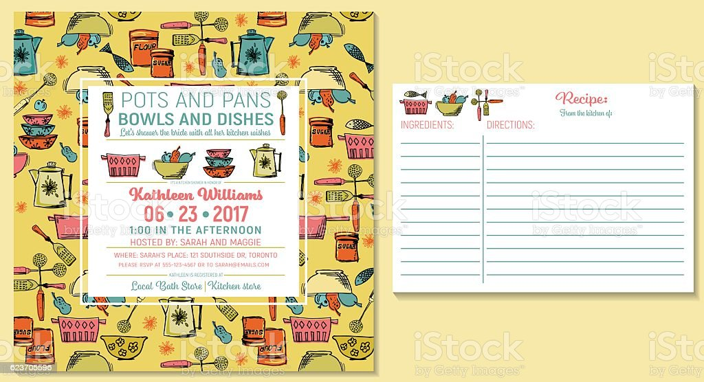 retro kitchen bridal shower invitation and recipe card template royalty free retro kitchen bridal shower