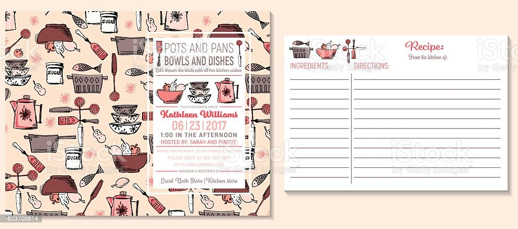 image about Free Printable Recipe Cards for Bridal Shower called Retro Kitchen area Bridal Shower Invitation And Recipe Card