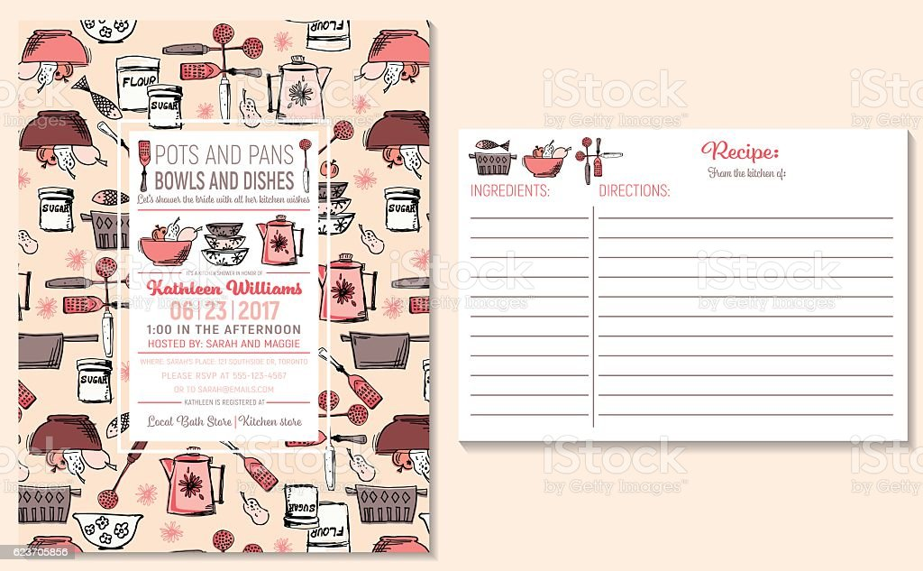 image regarding Free Printable Recipe Cards for Bridal Shower referred to as Retro Kitchen area Bridal Shower Invitation And Recipe Card