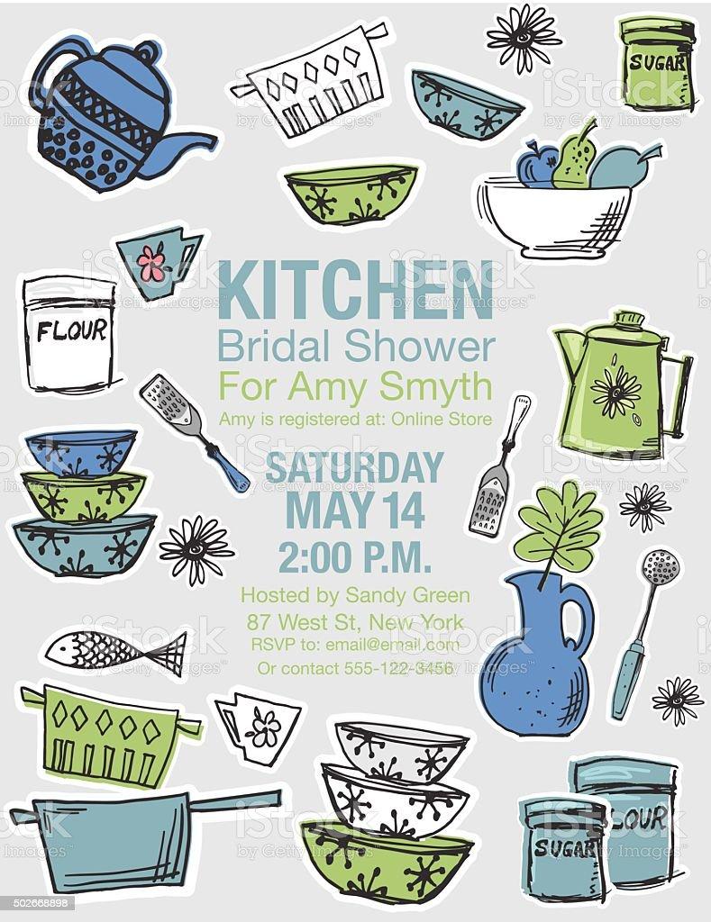 Retro Kitchen Bridal Shower Invitation Template stock vector art ...
