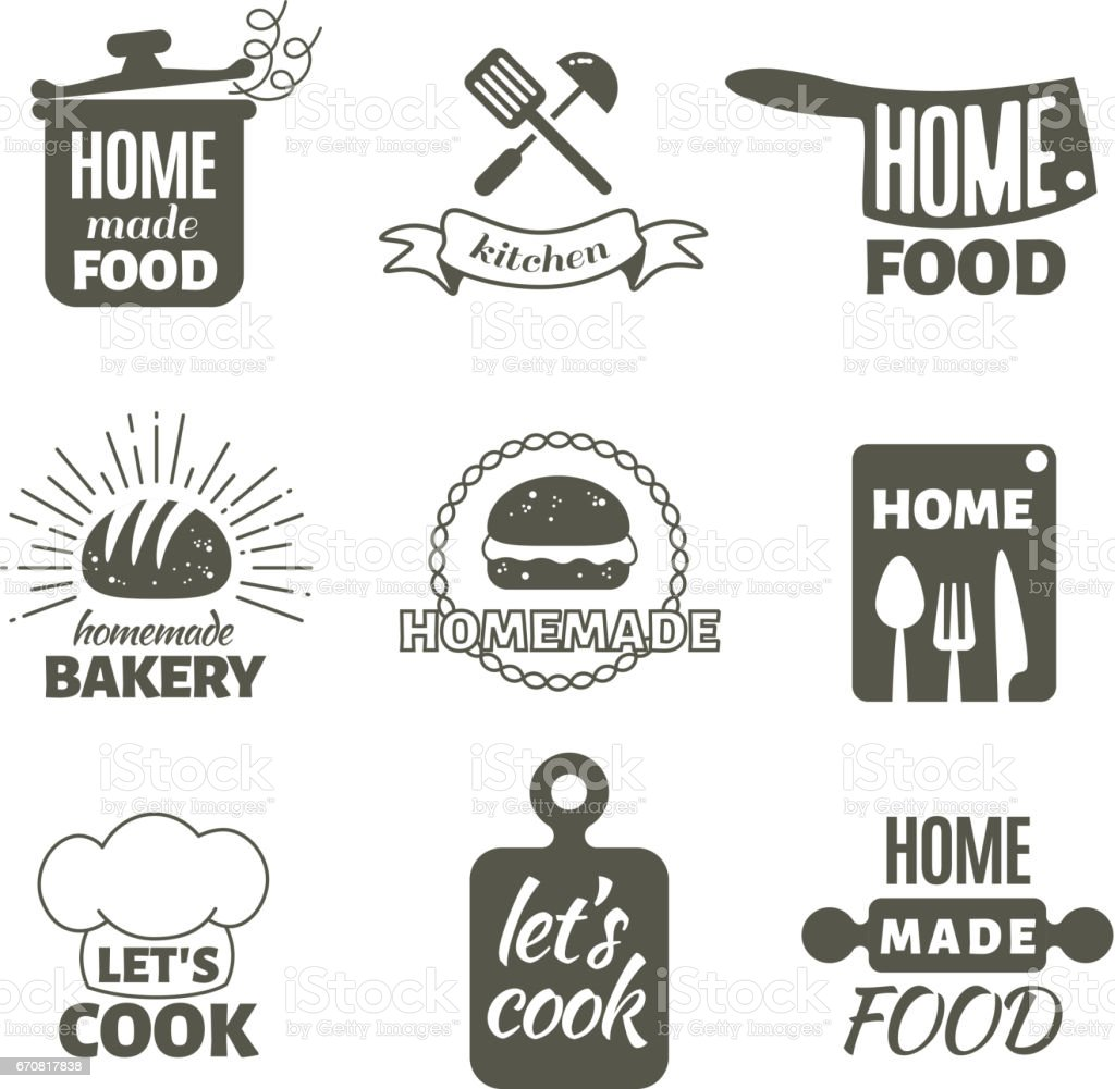 Kitchen Art Logo: Retro Kitchen Cooking At Home And Handmade Vector Badges