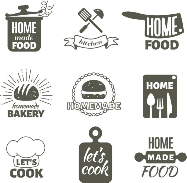 Retro kitchen cooking at home and handmade vector badges and logos vector art illustration