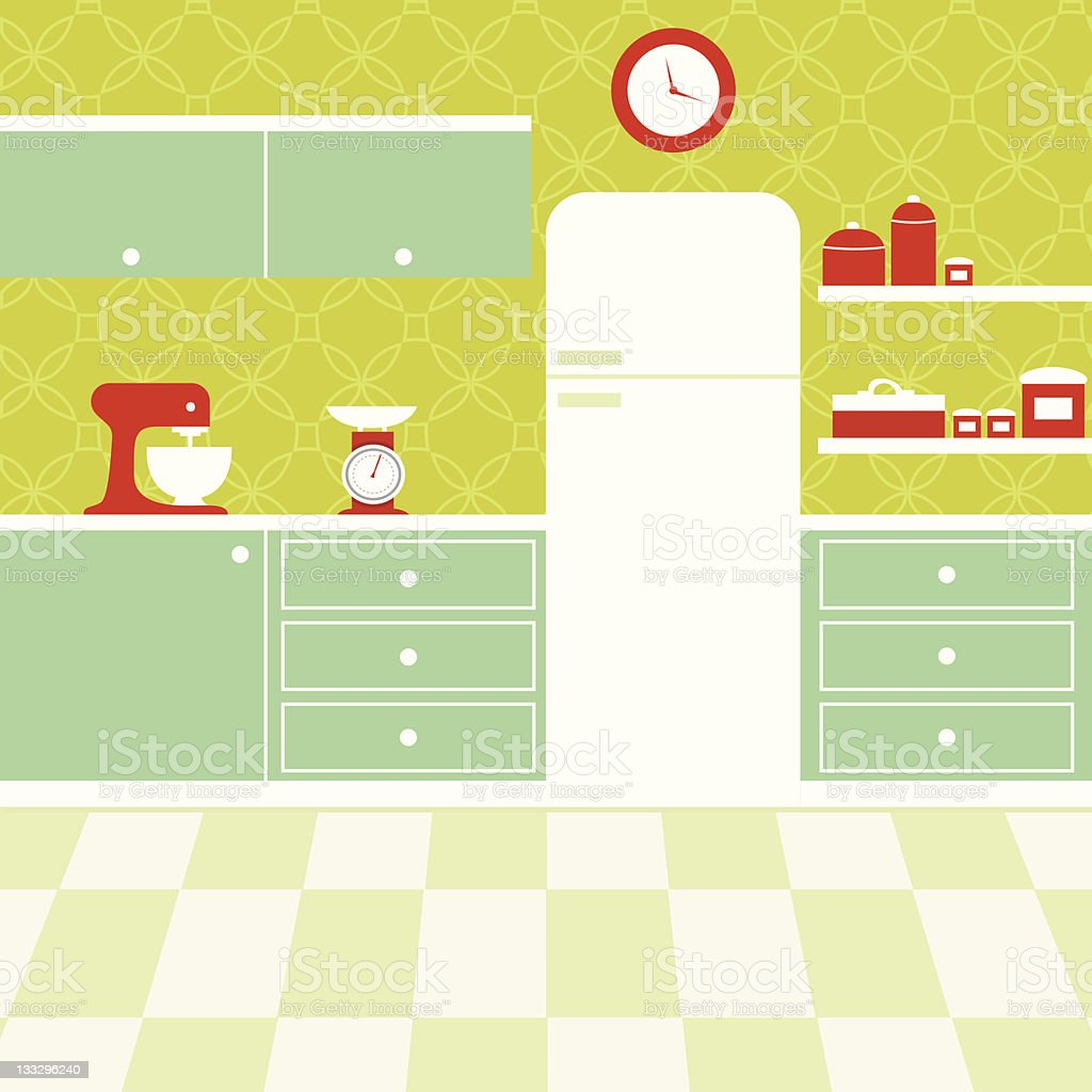 Retro Kitchen vector art illustration