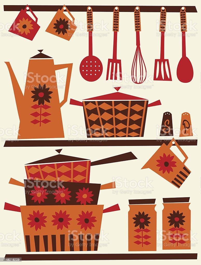 Retro Kitchen vector art illustration