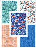 Retro kitschy Kitchen Seamless Pattern Set. Features Kitchenware, utensils and simple matching patterns.