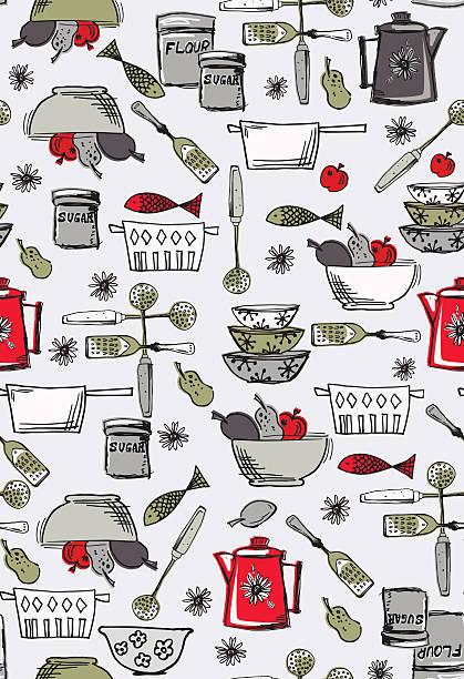 kitschige küche nahtlose muster im retro-stil - retroküchen stock-grafiken, -clipart, -cartoons und -symbole