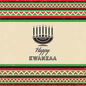 Retro Vintage Kwanzaa Card with holiday wishes. layered and groupped, grunge is on separate layers for easy edit. High res. Jpg included, transparency used, eps 10