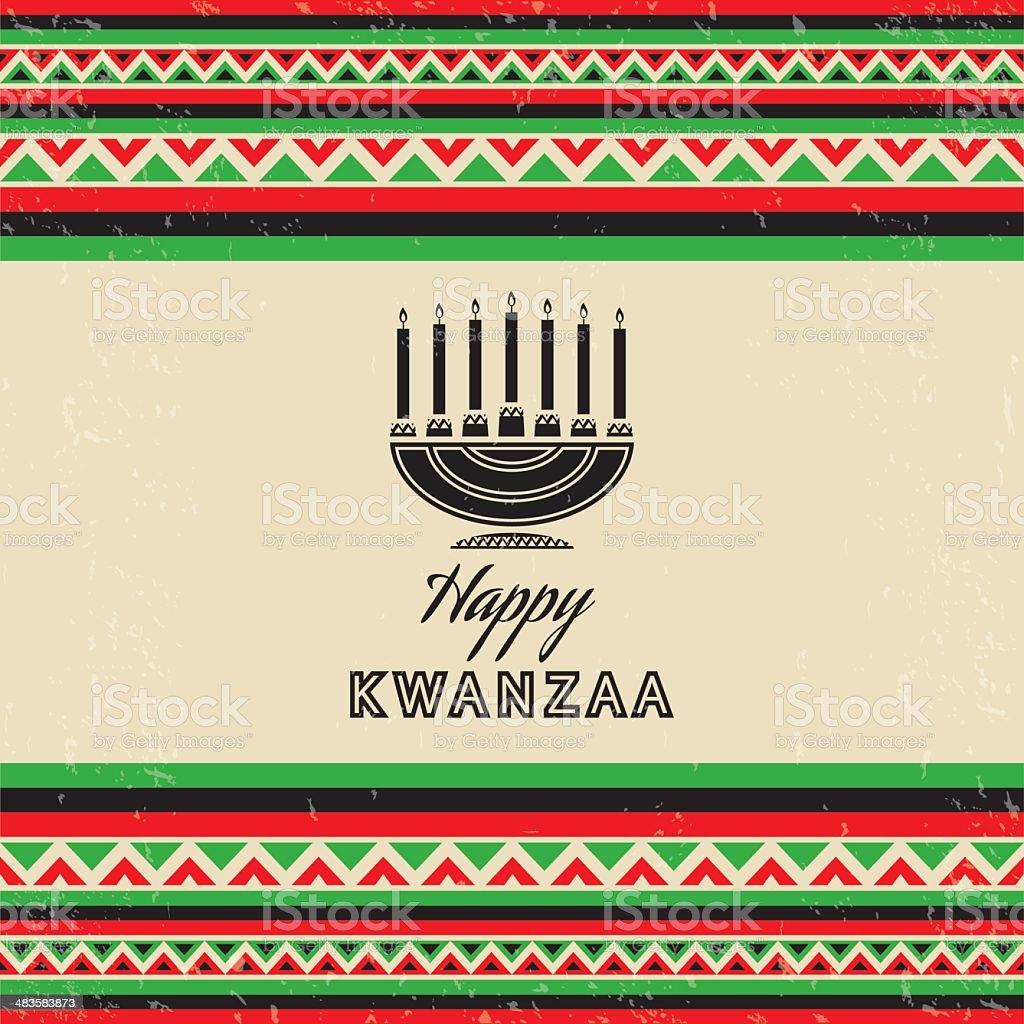 Cartão Retro Celebração Kwanzaa - ilustração de arte em vetor