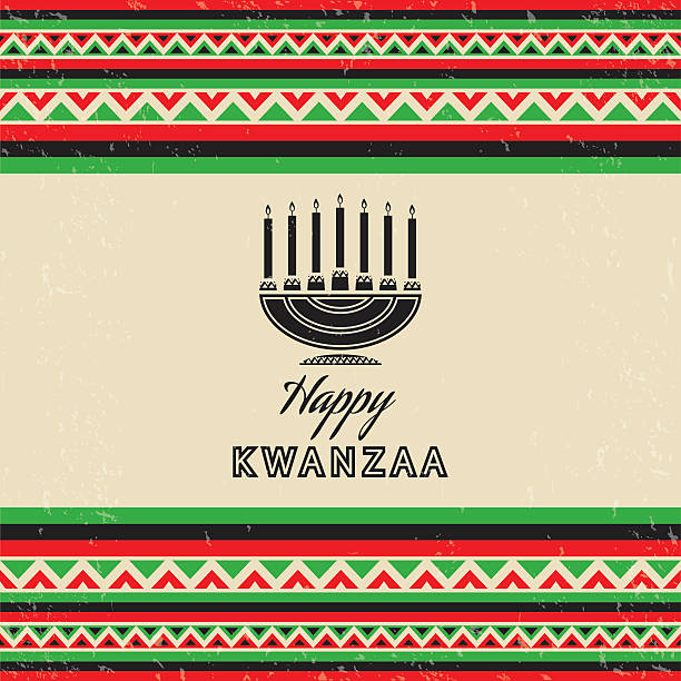 Carte de fête rétro Kwanza - Illustration vectorielle