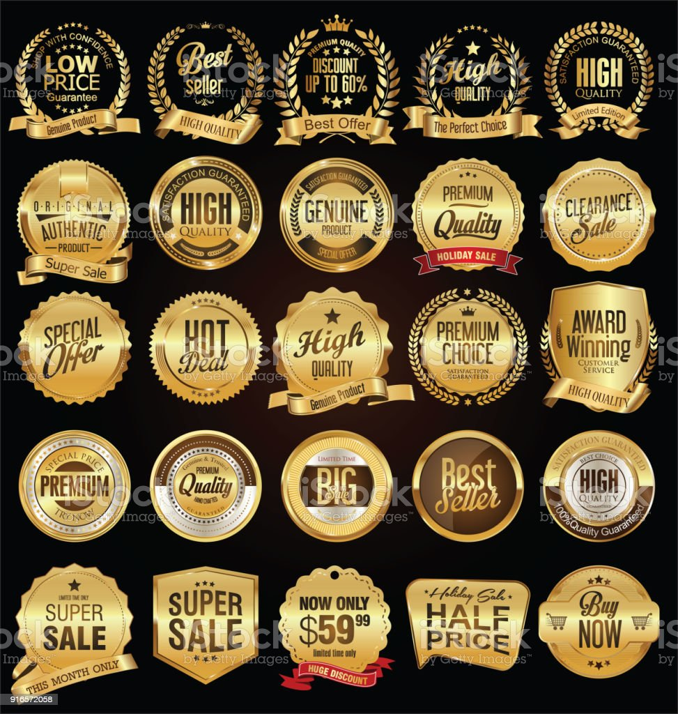 Retro labels and badges golden vector collection vector art illustration