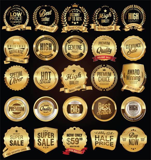 retro labels and badges golden vector collection - pieczęć znaczek stock illustrations
