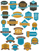 Badge labels templates in flat colors.