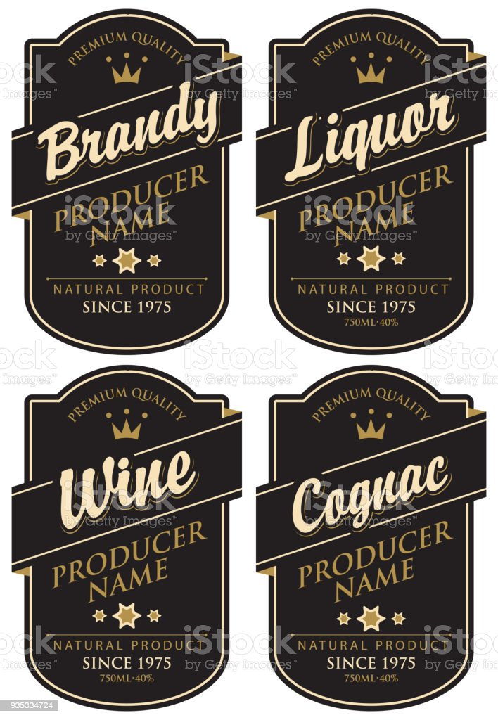 retro labels for various alcoholic beverages